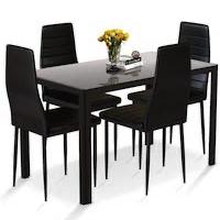 Best Black Glass Dining Table Set 4 Chairs Rundown
