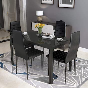 Best Black Glass Dining Table Set 4 Chairs