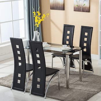 Best Rectangular Glass Top Dining Table Set 4 Seater