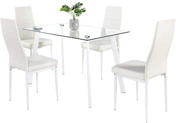 BonnloFour Chairs Glass Dining Table