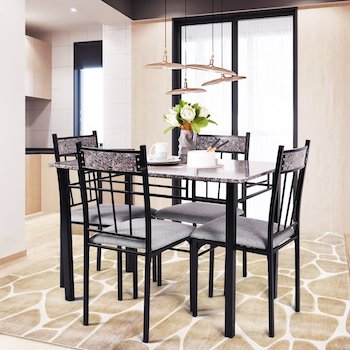Costway 5 Piece Faux Marble Dining Set