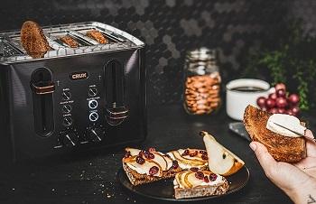 Crux 14807 Black Steel Toaster