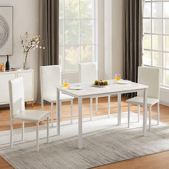 Hooseng Marble Dining Table And 4 Chairs