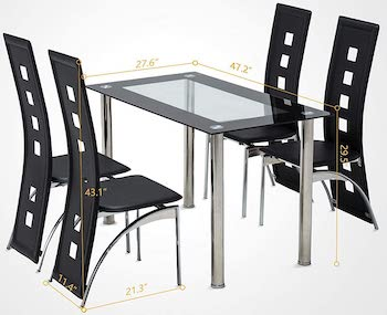MecorGlass Dining Sets 4 Chairs