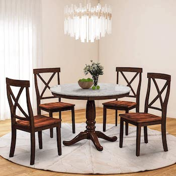 Merax Lumisol Marble Table 4 Chairs