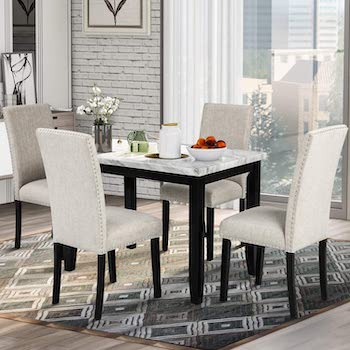 P PURLOVE Marble Dining Table 4 Chairs