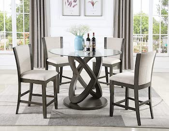 Roundhill Cicicol4 Chair Glass Dining Table Set