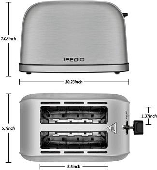 iFedio Compact 2-Slice Toaster