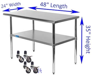 AmGood Stainless Table With Wheels