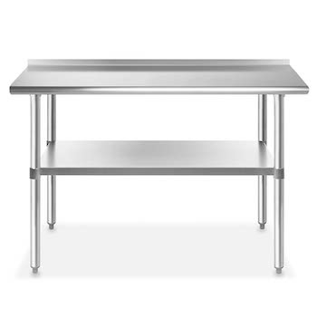 Best 24 x 48 Stainless Steel Table With Backsplash