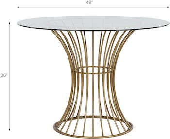 Best Glass Top 42'' Round Pedestal Dining Table