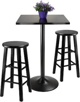 Best Pub Black 3-Piece Dining Set
