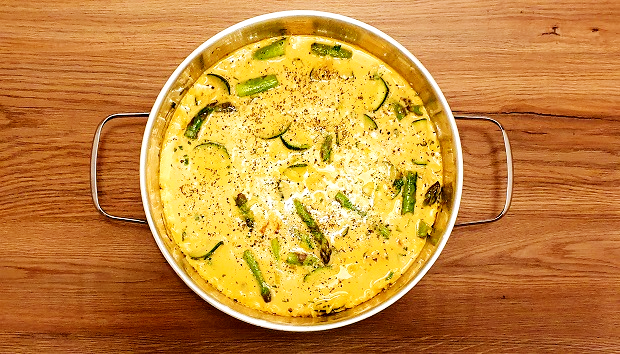 Istrian Frittata With Asparagus Recipe Combining The Mixture With Vegetables