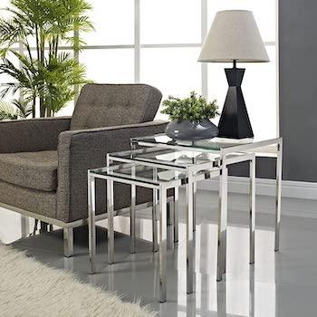 Modway Nimble 3 Glass Table Set