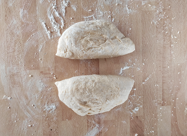 Mlinci - Dividing The Dough Into 2 Pieces