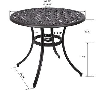 Best Cast Aluminum 36 In Round Patio Table