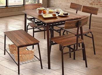 Best Industrial Dining Table 4 Chairs & Bench