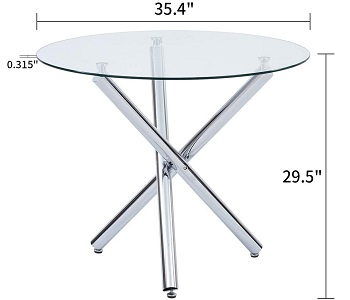 Best Kitchen 36-Inch Round Glass Dining Table