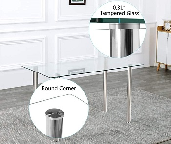 Best Of Best Glass Top Dining Table Set 4 Seater