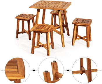 Best Patio Solid Wood Dining Table Set 4 Seater