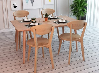 Best Rectangle Solid Wood Dining Table Set 4 Seater