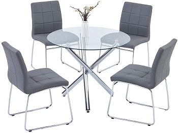 Best Round Glass Top Dining Table Set 4 Seater