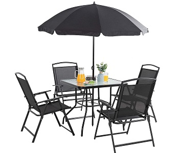 Best With Parasol Patio Set 4 Seater