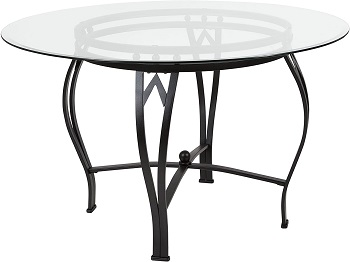 Best Metal 48 Inch Round Glass Dining Table