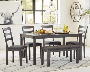 Best Cheap Grey 6 Piece Dining Set With Bench