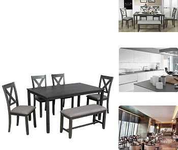 Best Farmhouse Grey 6 Piece Dining Set With Bench