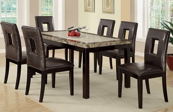 Best Faux Leather Faux Marble Dining Table With 6 Chairs