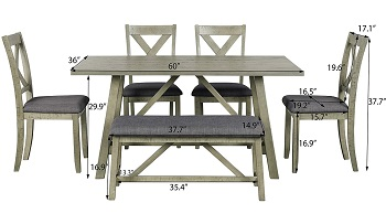 Best Grey Farmhouse Dining Set For 6