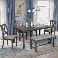 Best Modern Grey 6 Piece Dining Set With Bench Rundown