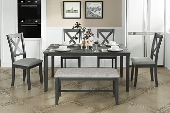 Best Of Best Grey 6 Piece Dining Set With Bench