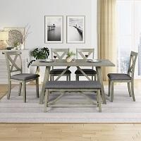 Best Wooden Grey 6 Piece Dining Set With Bench Rundown