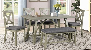 Best Wooden Grey 6 Piece Dining Set With Bench