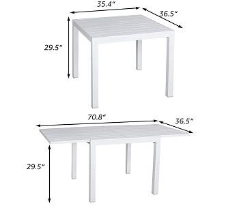 Soleil Jardin Aluminum Patio Table